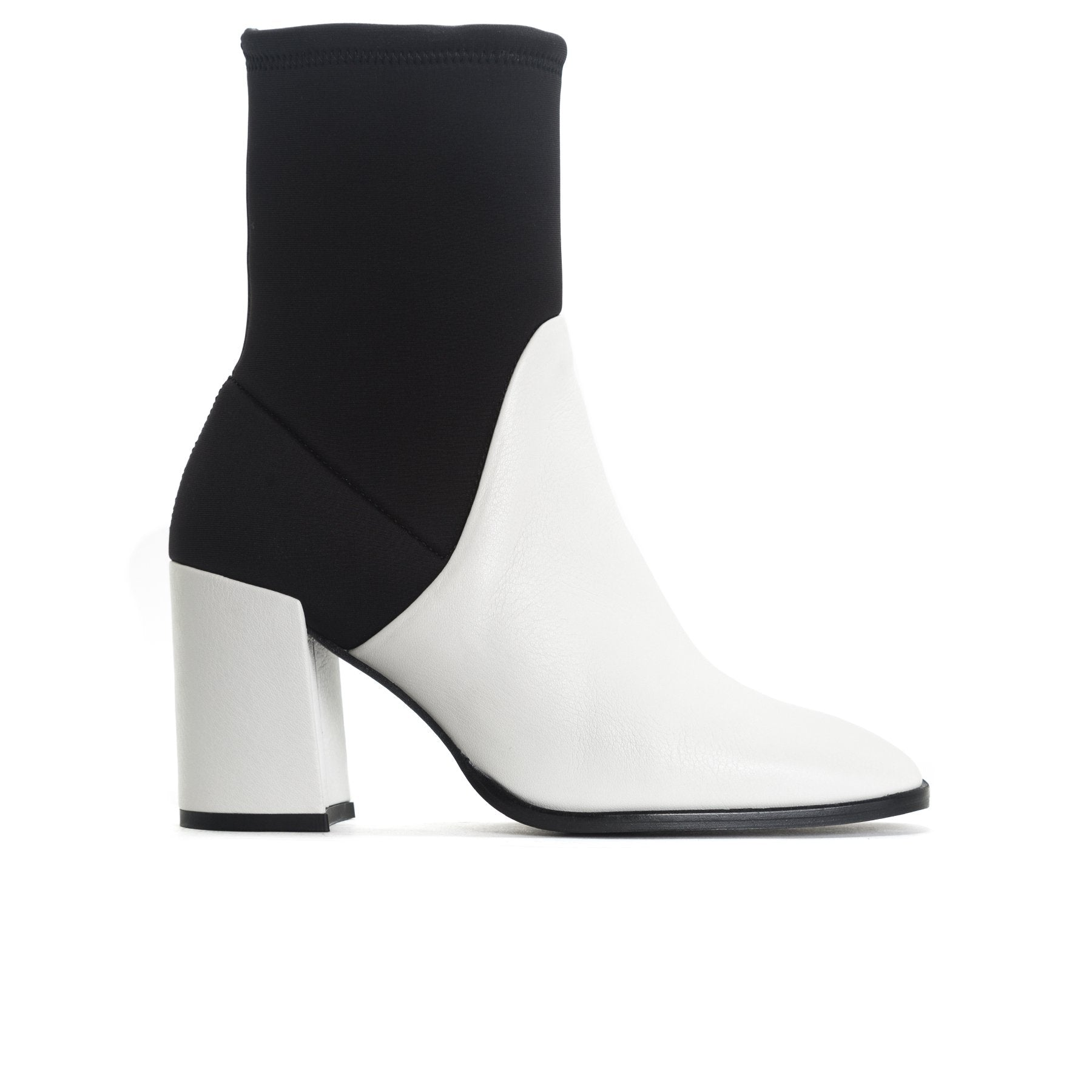 Zadar White Leather/Black Neoprene Ankle Boots