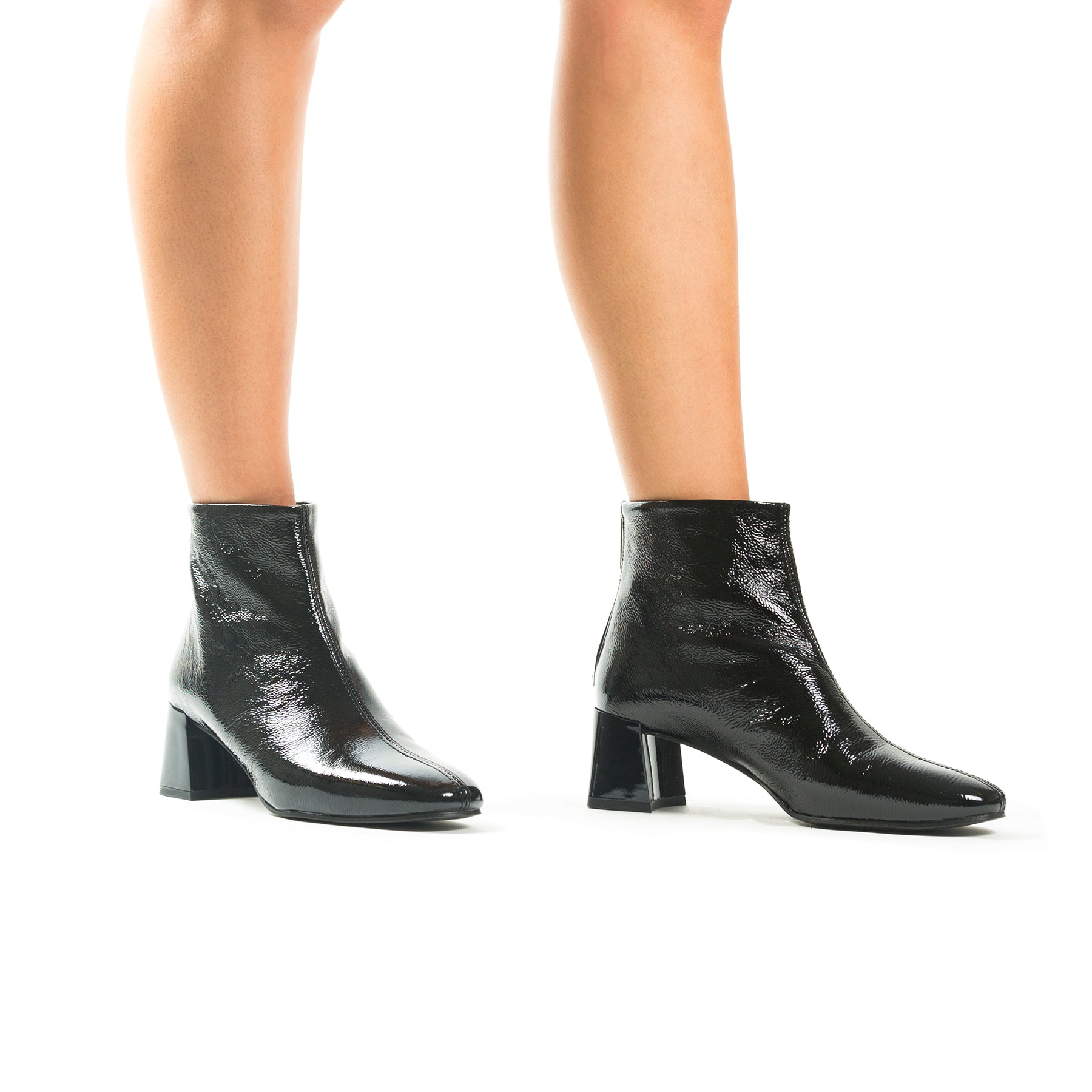 Zagreb Black Naplack Ankle Boots