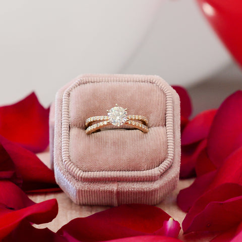 Rose gold traditional engagement ring