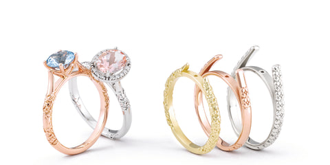 yellow gold, rose gold, white gold, alternative metal engagement rings lined up
