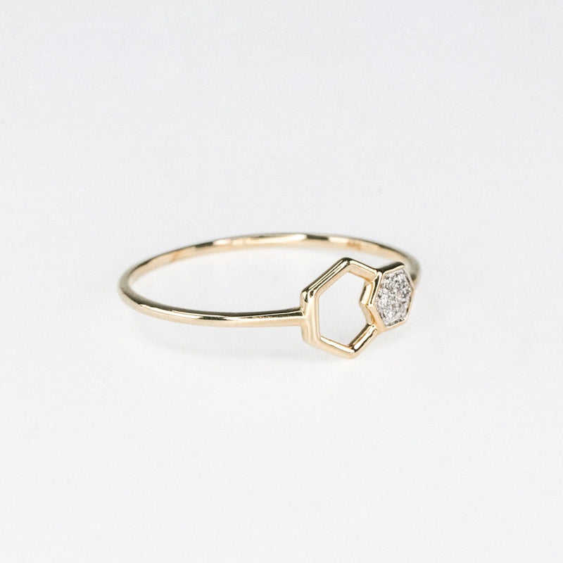 0.02ctw Diamond Accented Double Hexagon Stackable Ring Size 7 in 10K Yellow Gold Diamond Rings Oaks Jewelry