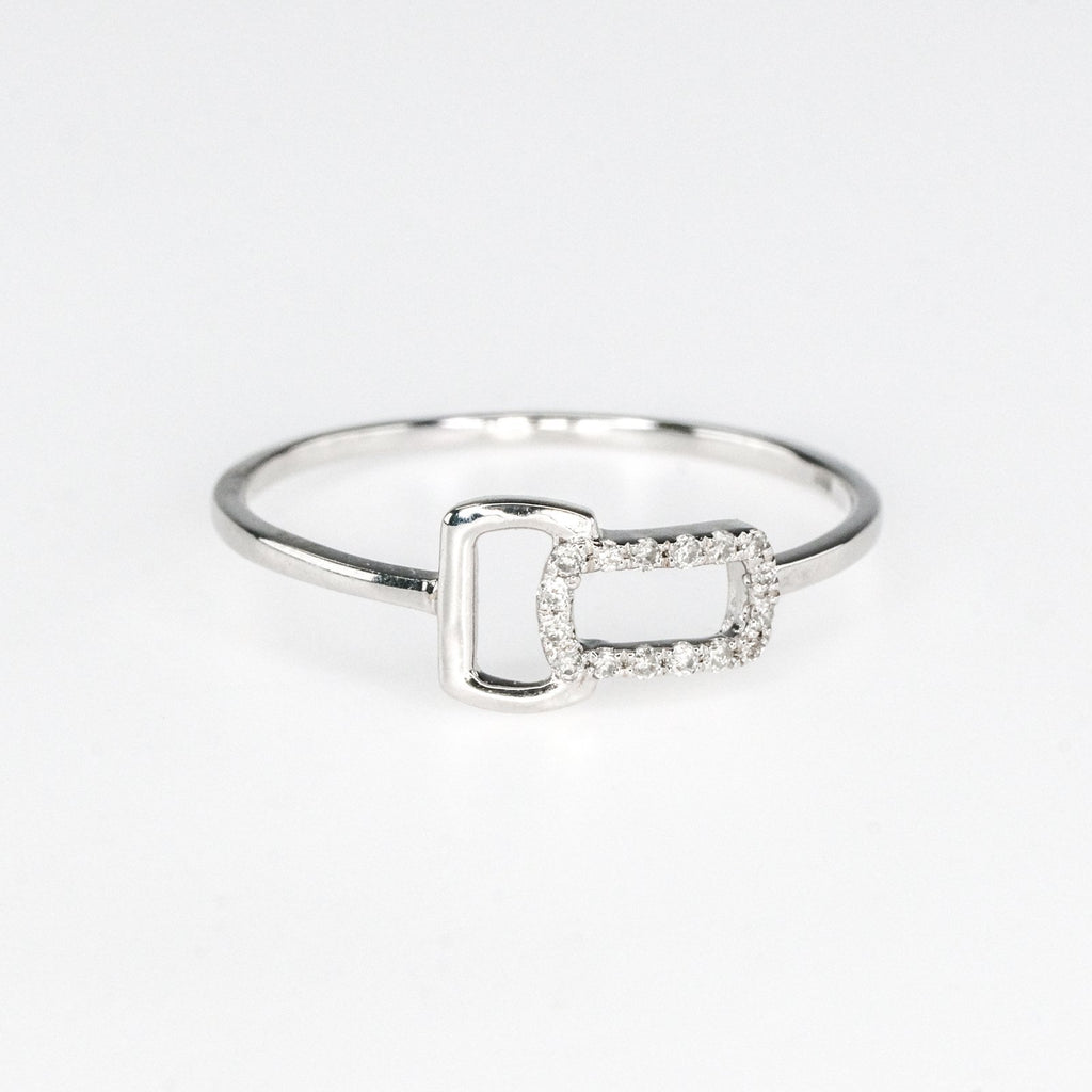 0.05ctw Diamond Accented Open Buckle Geometric Stack Ring in 10K White Gold Diamond Rings Oaks Jewelry
