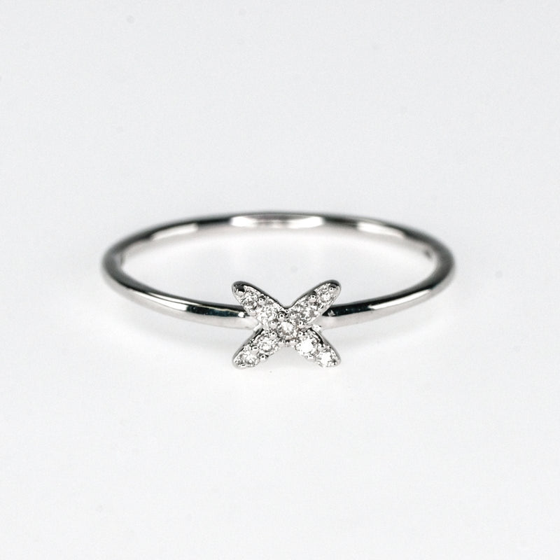 "0.05ctw Diamond Accented ""X"" Shape Stackable Ring Size 7 in 10K White Gold Diamond Rings Oaks Jewelry"