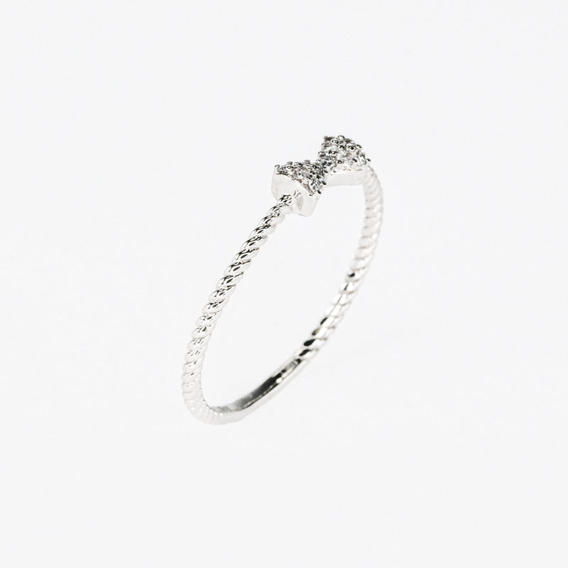 0.05ctw Diamond Accents Bow & Bead Twist Stacking Ring Size 7 in 10K White Gold Diamond Rings Oaks Jewelry