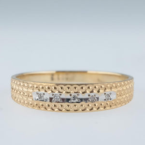 0.05ctw Round Diamond Accents Channel Pattern Etched Band Ring in Two Tone Gold Wedding Rings Oaks Jewelry