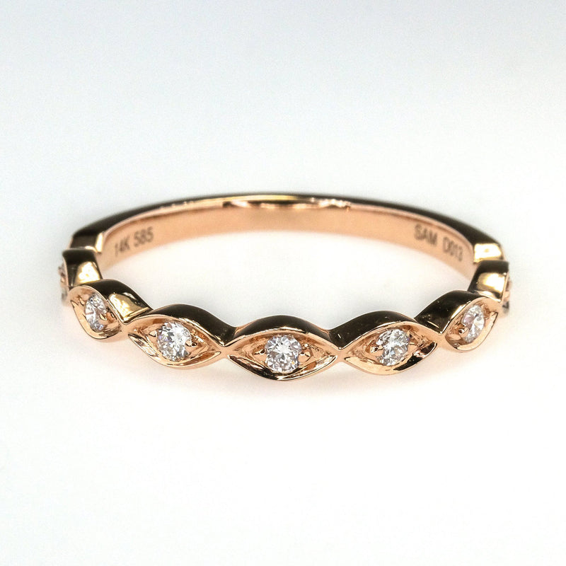 0.13ctw Round Diamond Accented Wedding Band in 14K Rose Gold Wedding Rings Oaks Jewelry