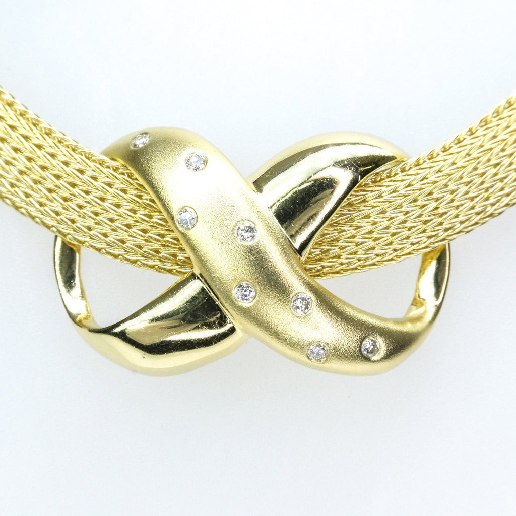 "0.16ctw Diamond Infinity Slide Pendant on 17"" Mesh Necklace in 14K Yellow Gold Pendants with Chains Oaks Jewelry"