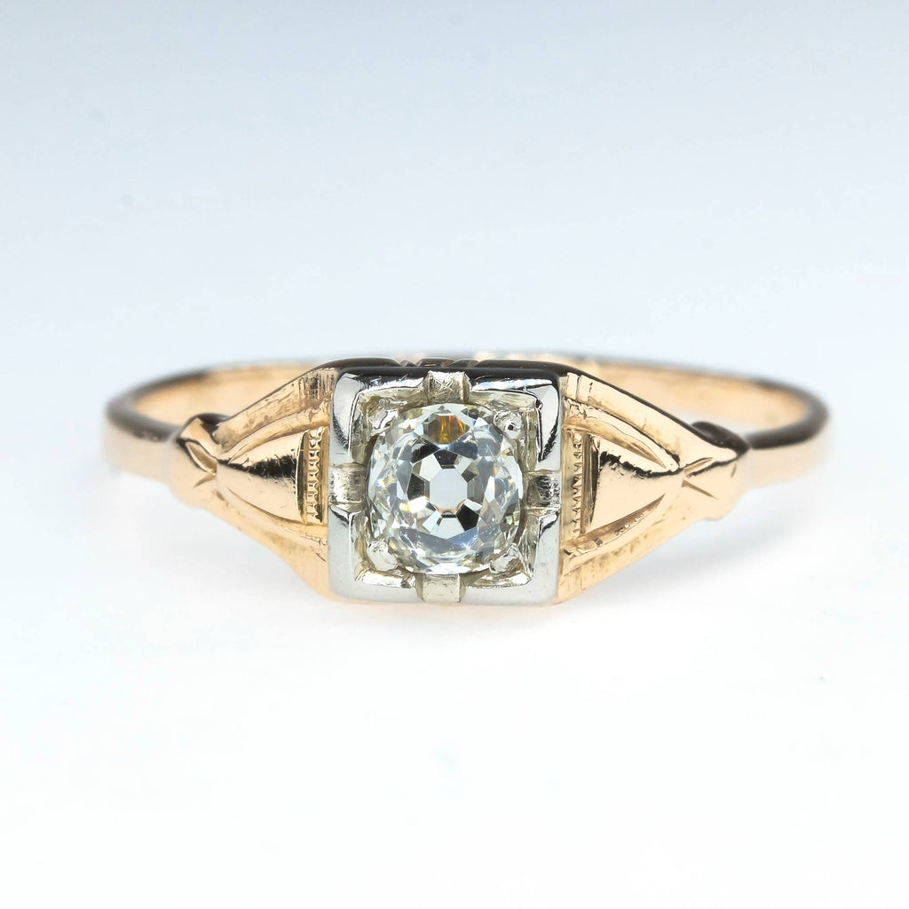0.20ct Vintage Old European Solitaire Engagement Ring in 14K Two Tone Gold Engagement Rings Oaks Jewelry