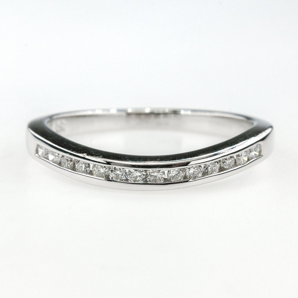 0.20ctw Round Diamonds Contoured Wedding Band Ring Size 6.5 14K White Gold Wedding Rings Oaks Jewelry