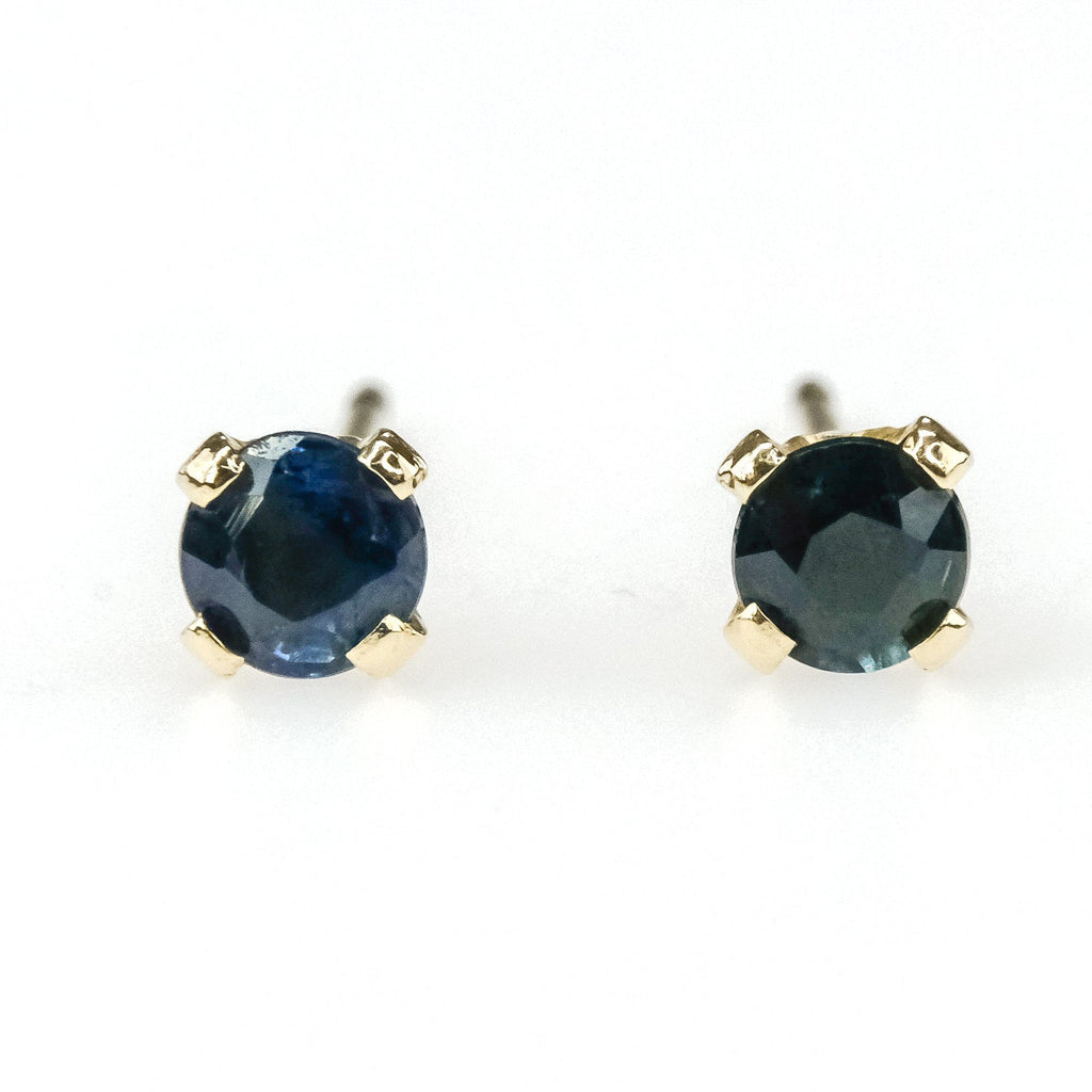 0.20ctw Round Sapphire Solitaire Stud Earrings in 14K Yellow Gold Earrings Oaks Jewelry