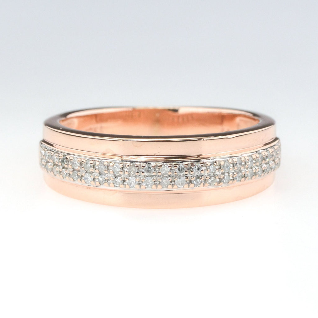 0.20ctw SI2/H-I Diamond Accented Wedding Band Ring in 10K Rose Gold Wedding Rings Oaks Jewelry