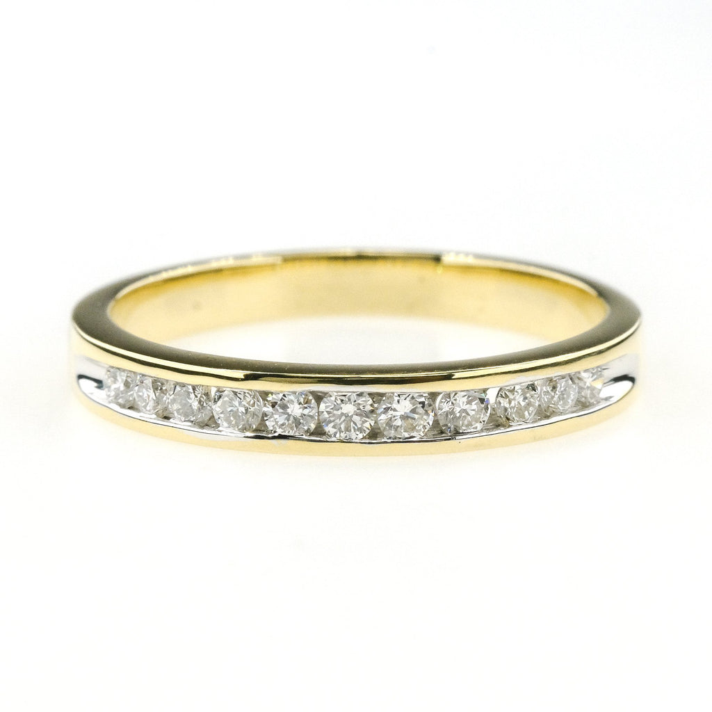 0.23ctw Diamond Accented Channel Set Wedding Band Ring Size 6.5 14K Yellow Gold Wedding Rings Oaks Jewelry