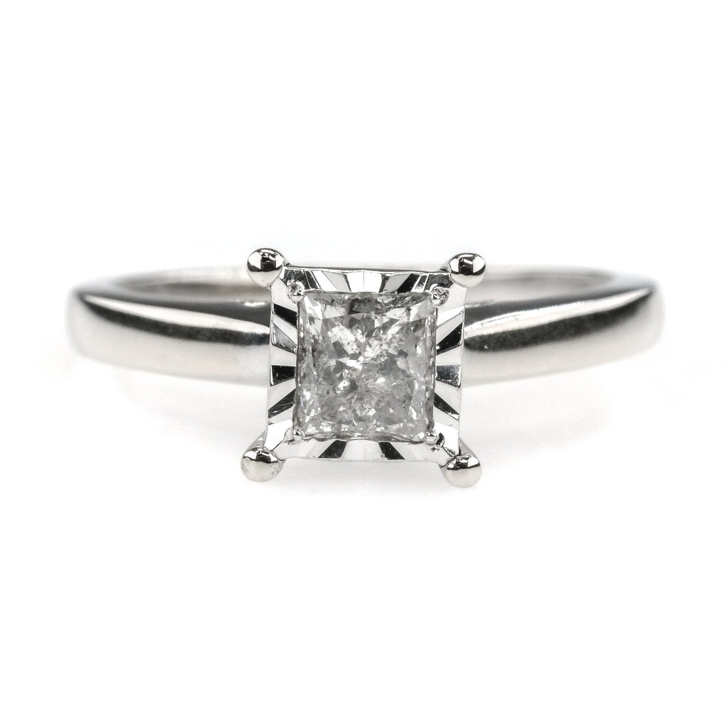 0.25ct Princess Diamond Solitaire Illusion Set Engagement Ring 10K White Gold Engagement Rings Oaks Jewelry