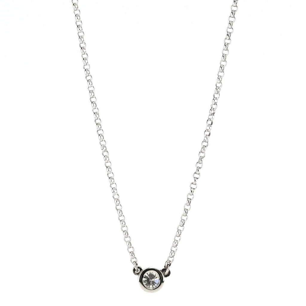 "0.25ct Round Diamond Solitaire Fixed Pendant & 18"" Rolo Chain in 14K White Gold Necklaces Oaks Jewelry"