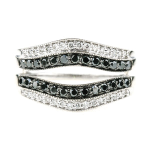 0.25ctw Black & White Diamond Accented Ring Guard Enhancer in 14K White Gold Wedding Rings Oaks Jewelry