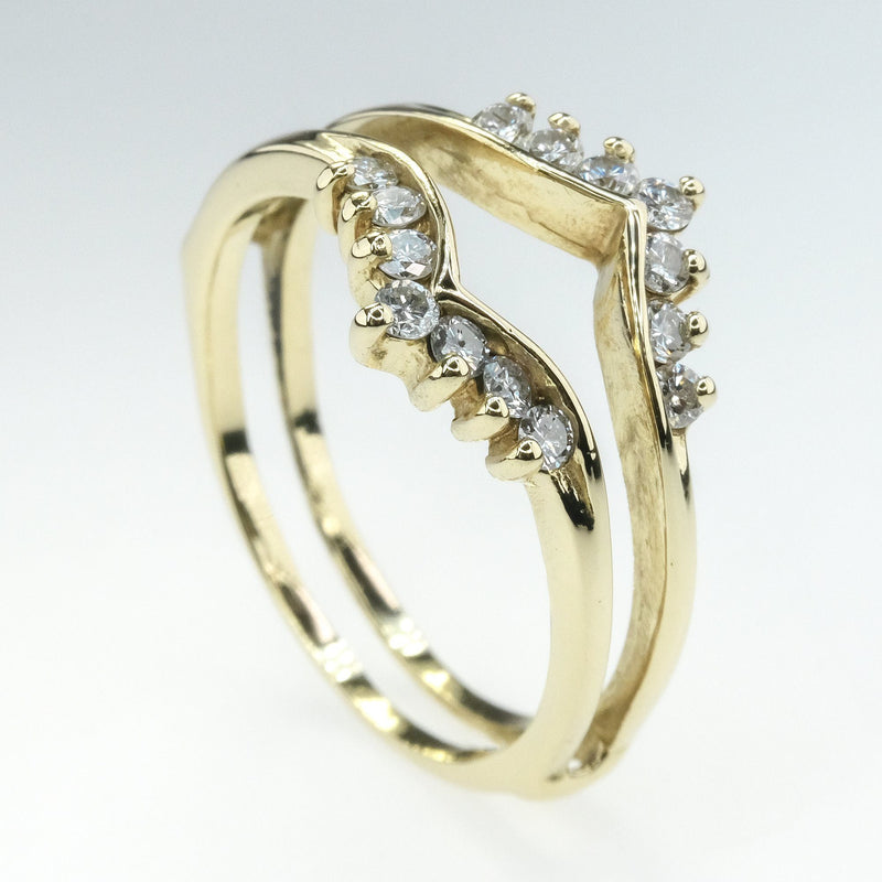 0.25ctw Diamond Accented Ring Guard in 14K Yellow Gold Wedding Rings Oaks Jewelry