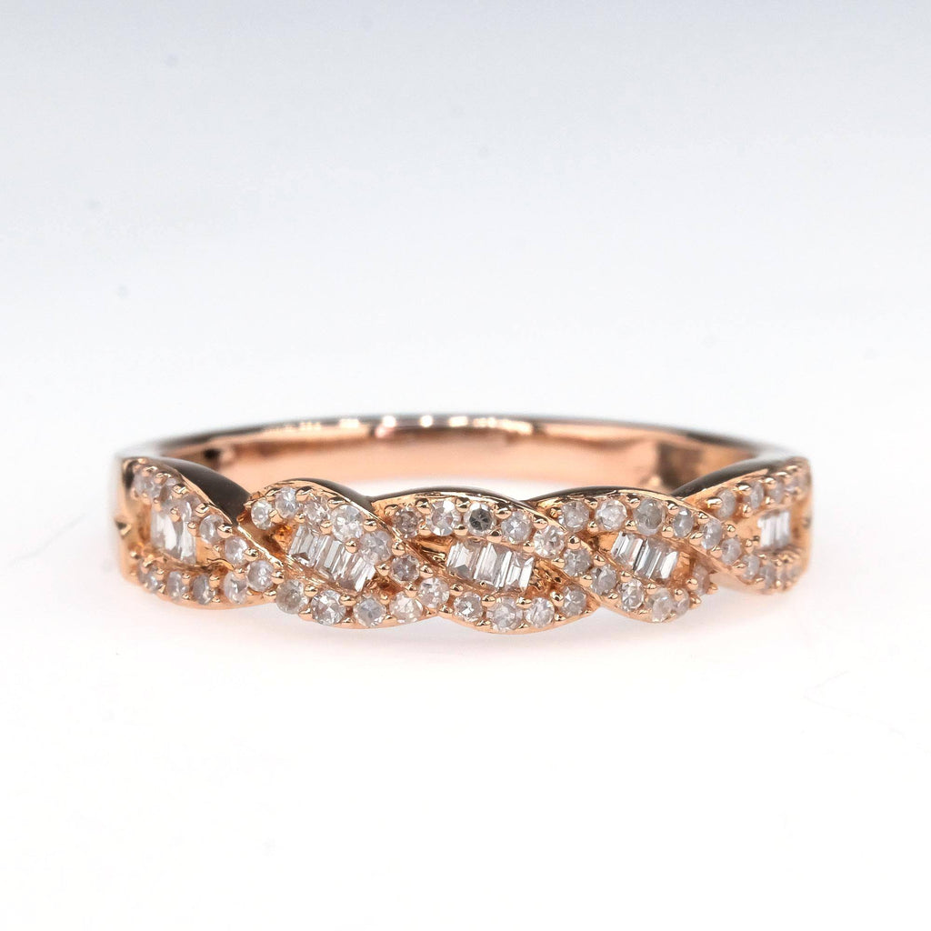 0.25ctw Round & Baguette Diamond Accented Twisted Band in 10K Rose Gold Wedding Rings Oaks Jewelry