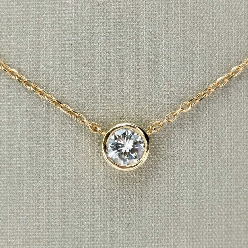"0.27ct Diamond Solitaire 18"" Fixed Bezel Necklace in 14K Yellow Gold Necklaces Oaks Jewelry"