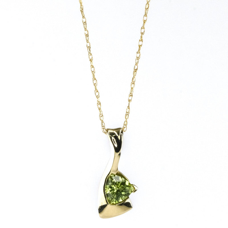 "0.30ct Trillion Cut Peridot Solitaire Pendant 18"" Necklace in 10K Yellow Gold Pendants with Chains Oaks Jewelry"