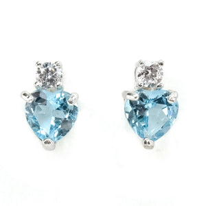 0.30ctw Heart Shaped Blue Topaz w/ Diamond Accent Stud Earring in 10K White Gold Earrings Oaks Jewelry