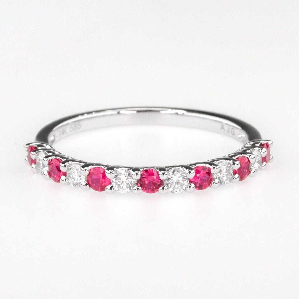 0.30ctw Round Diamond w/ Ruby Accented Wedding Band Ring in 14K White Gold Wedding Rings Oaks Jewelry
