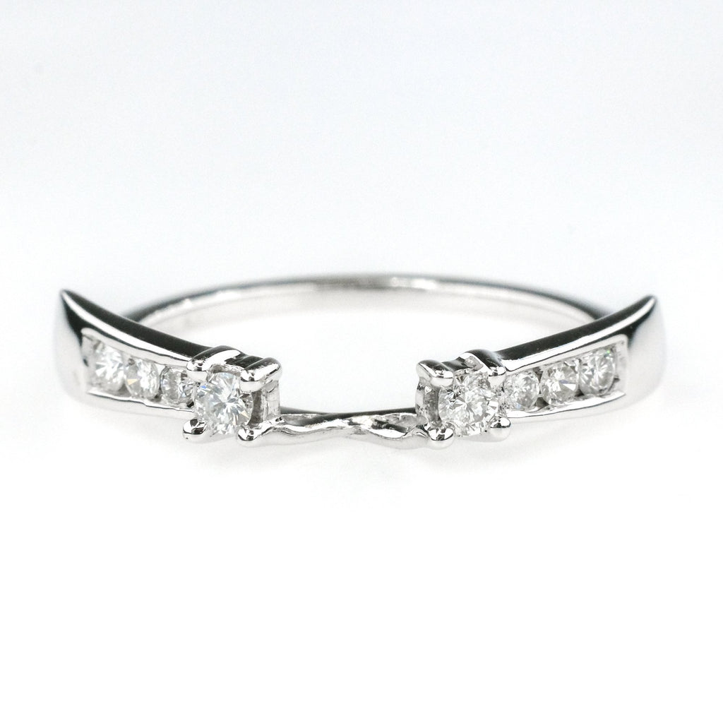 0.30ctw SI2/I Round Diamond Accented Wedding Band Wrap in 14K White Gold Wedding Rings Oaks Jewelry