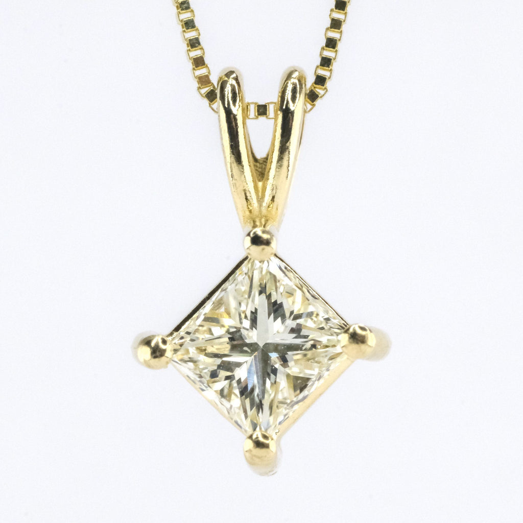 "0.32ct Princess Cut Diamond Solitaire Pendant on 18"" Necklace in 14K Yellow Gold Pendants with Chains Oaks Jewelry"