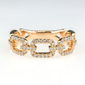 0.32ctw Diamond Accented Square Link Design Right Hand Ring in 18K Rose Gold Diamond Rings Oaks Jewelry