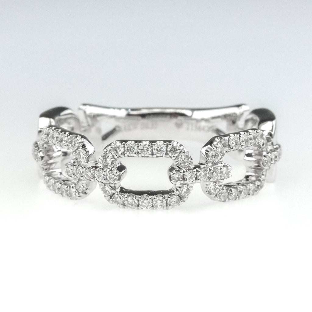 0.32ctw Diamond Accented Square Link Design Right Hand Ring in 18K White Gold Diamond Rings Oaks Jewelry