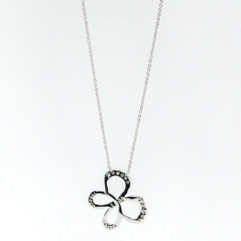 "0.33ctw Diamond Accented Fixed Free Form Butterfly 18"" Necklace 10K White Gold Necklaces Oaks Jewelry"