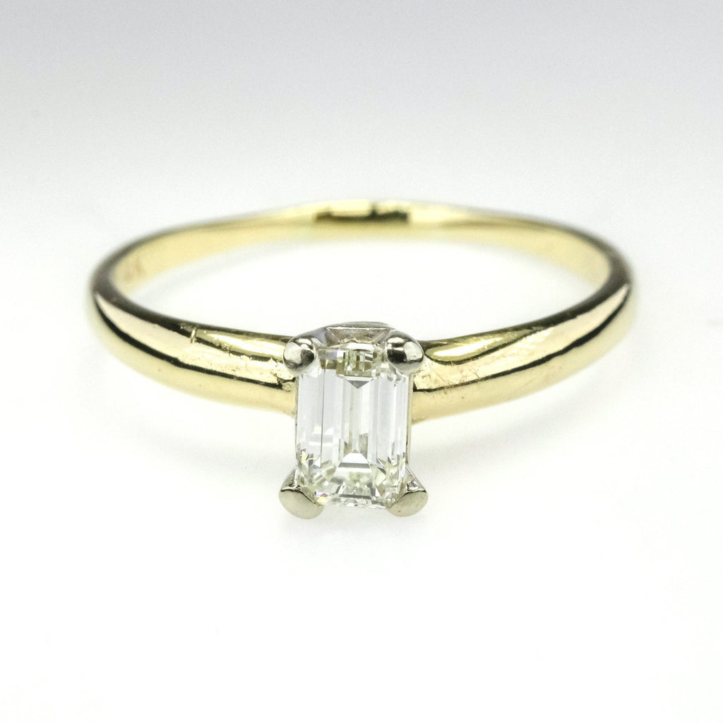 0.33ctw Emerald Cut VS1/I Diamond Solitaire Engagement Ring in 14K Yellow Gold Engagement Rings Oaks Jewelry