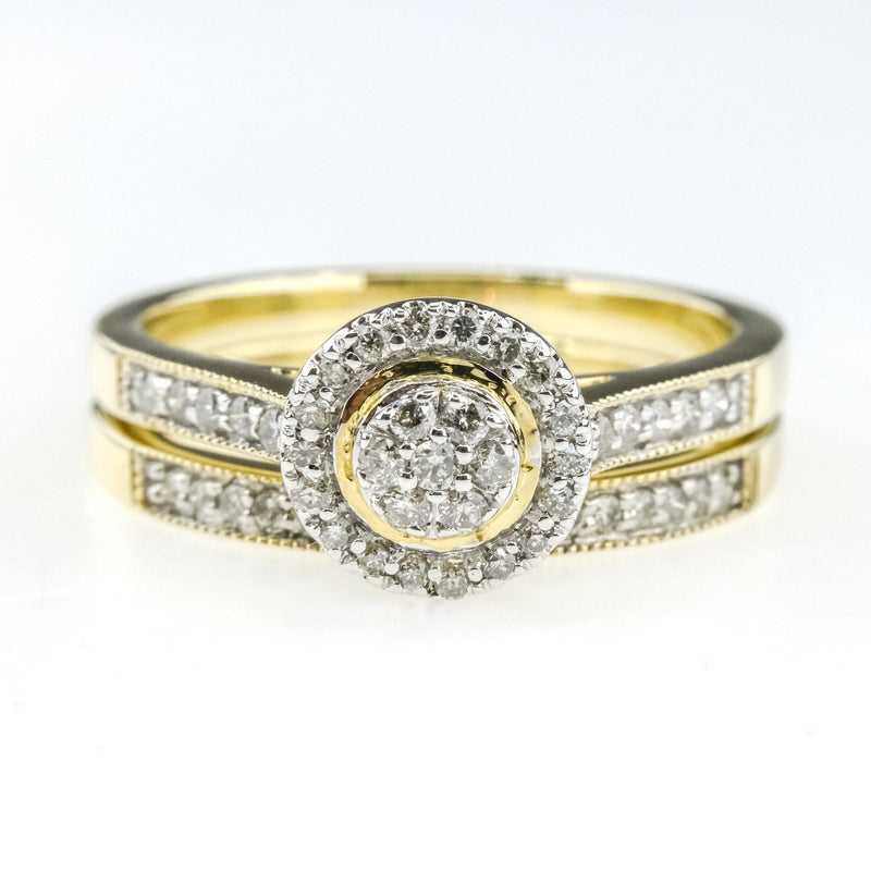 0.33ctw Round Diamond Accented Cluster Halo Bridal Ring Set in 10K Yellow Gold Bridal Sets Oaks Jewelry