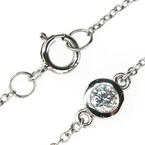"0.34ctw Diamond Bezel Set Stationed 18"" Necklace in 14K White Gold Necklaces Oaks Jewelry"
