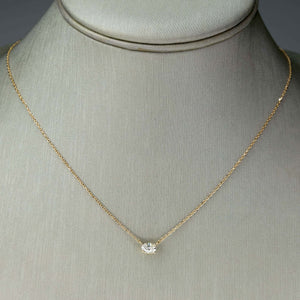 "0.35ct Oval Diamond Solitaire 18"" Adjustable Necklace in 14K Yellow Gold Necklaces Oaks Jewelry"