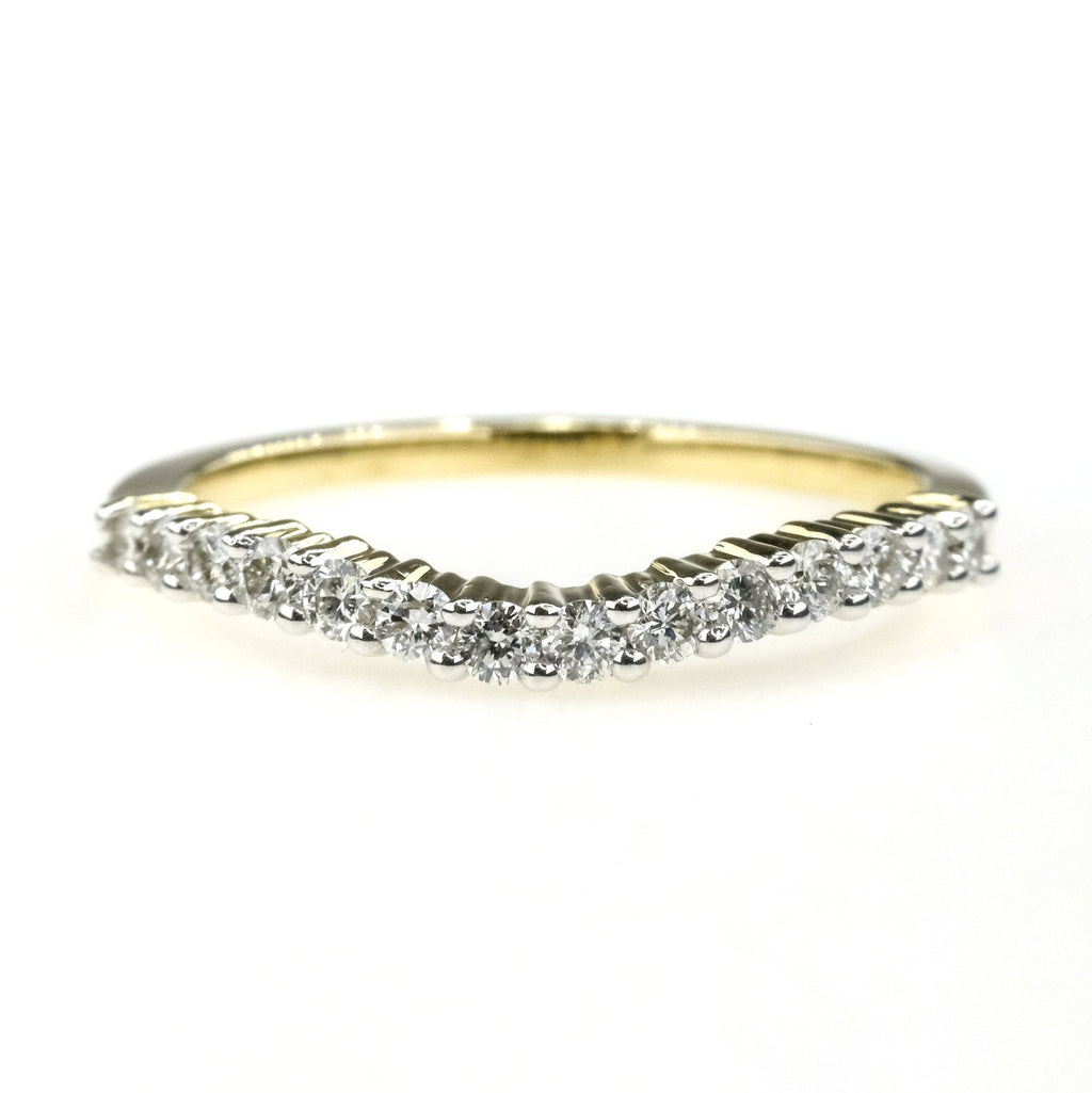 0.35ctw Round Diamond Accent Contoured Wedding Band Ring in 14K Yellow Gold Wedding Rings Oaks Jewelry