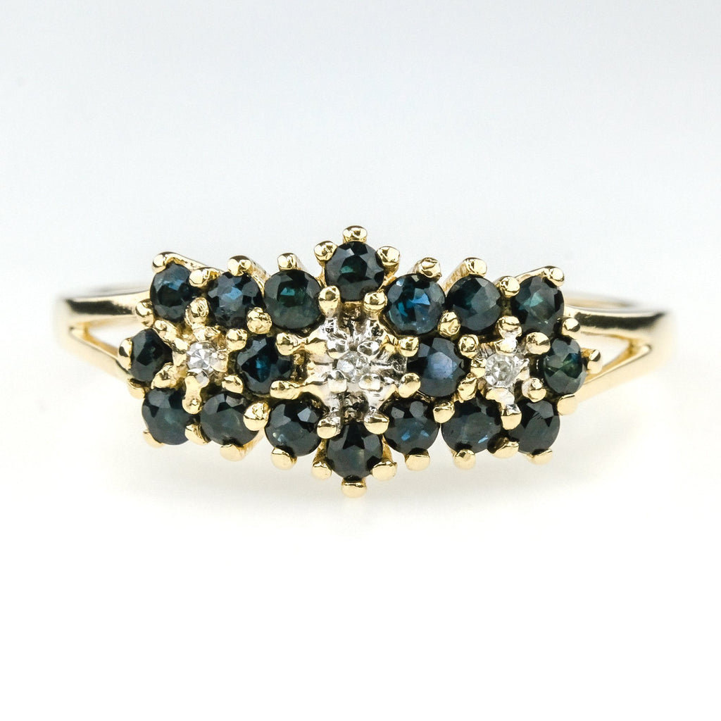 0.36ctw Round Sapphire with Diamond Accents Gemstone Ring in 10K Yellow Gold Gemstone Rings Oaks Jewelry