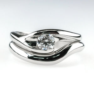 0.37ct VVS2/E Certified Round Diamond Swirl Matching Bridal Set in Platinum Bridal Sets Oaks Jewelry