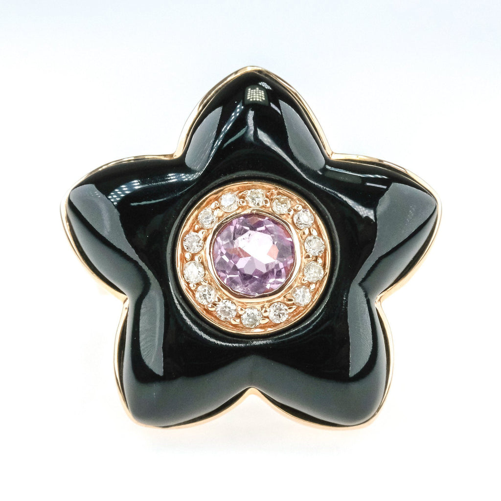 0.40ct Amethyst w/ Diamond Halo Accents Flower Shaped Onyx Ring in 14K Rose Gold Gemstone Rings Oaks Jewelry