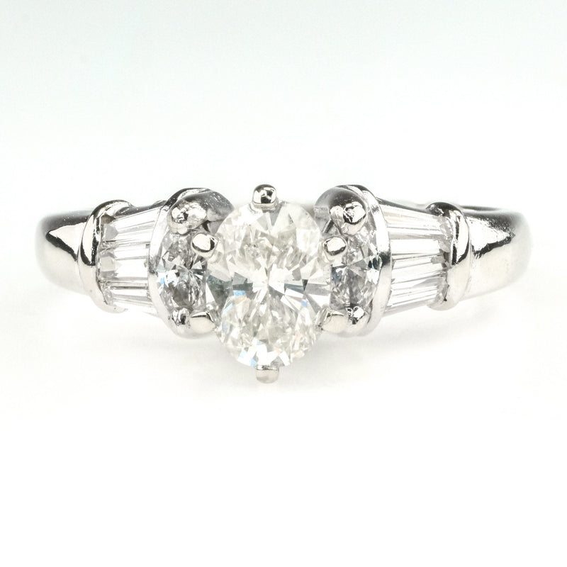 0.40ct Oval Diamond w/ Side Accents Engagement Ring in 14K White Gold Engagement Rings Oaks Jewelry