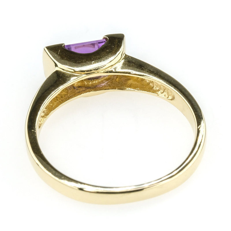 0.40ct Purple Amethyst w/ Side Diamond Accents Gemstone Ring in 10K Yellow Gold Gemstone Rings Oaks Jewelry