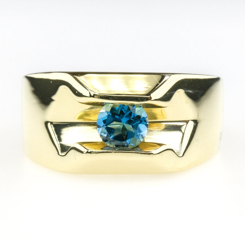 0.40ct Round London Blue Topaz Solitaire Gemstone Ring in 14K Yellow Gold Gemstone Rings Oaks Jewelry