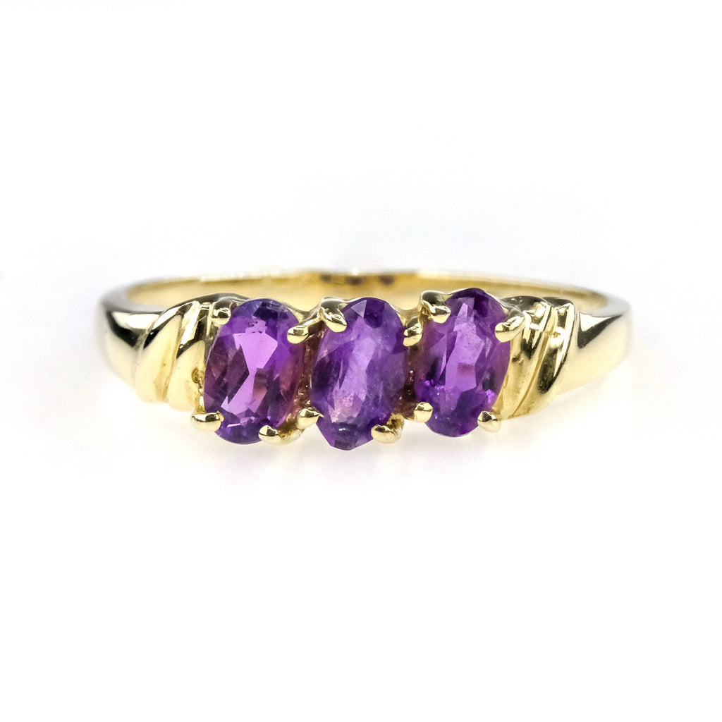 0.45ctw Purple Oval Amethyst Three Stone Gemstone Ring in 14K Yellow Gold Gemstone Rings Oaks Jewelry
