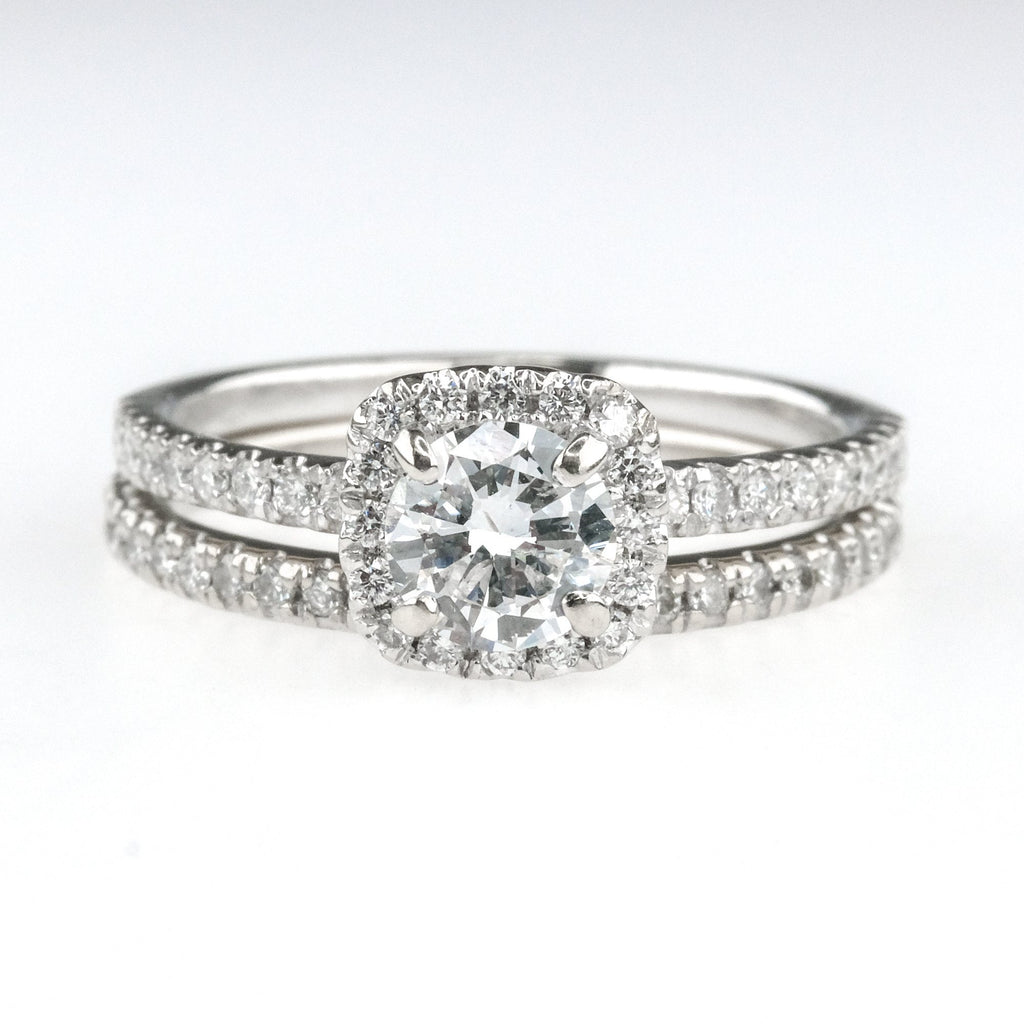 0.50ct Diamond w/ Halo & Side Accents Bridal Set in 14K White Gold Bridal Sets Oaks Jewelry