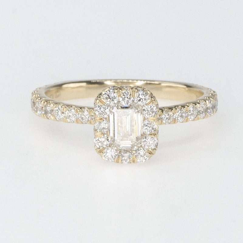 0.50ct Emerald Cut Diamond & Halo & Side Accents Engagement Ring in 14K Yellow Gold Engagement Rings Oaks Jewelry