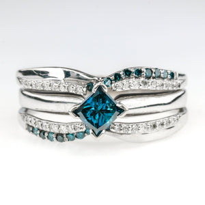 0.50ct Enhanced Blue Diamond w/ Side Accents Engagement Ring in 14K White Gold Engagement Rings Oaks Jewelry