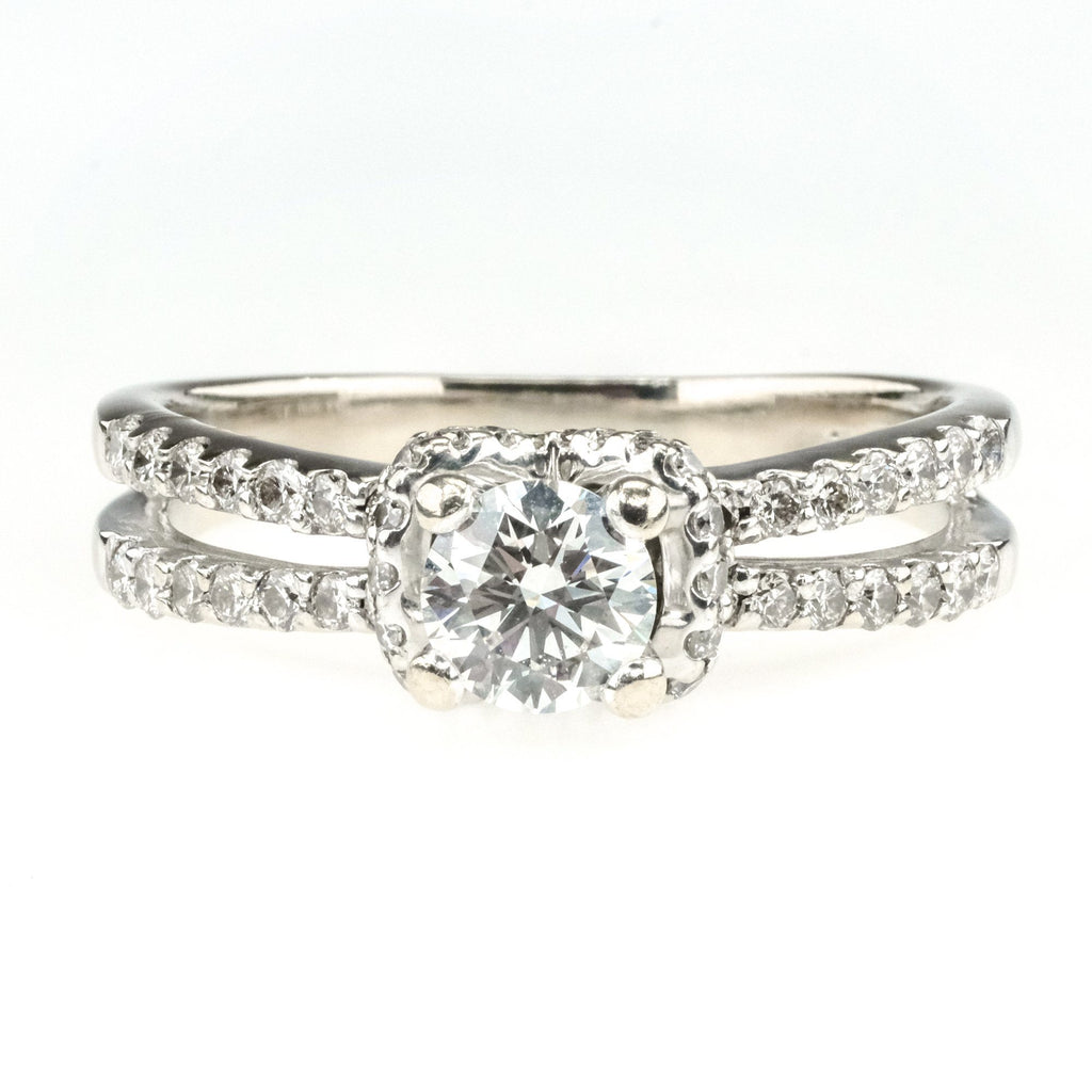 0.50ct GIA VS1/G Round Diamond w/ Side Accents Engagement Ring in 18K White Gold Engagement Rings Oaks Jewelry