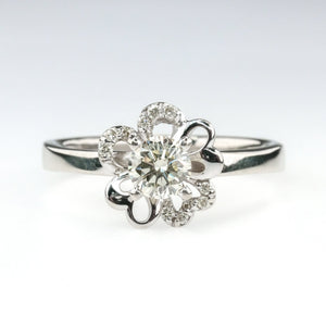 0.50ct Round Solitaire Diamond Floral Design Engagement Ring in 14K White Gold Engagement Rings Oaks Jewelry
