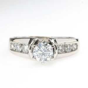 0.50ct SI2/F Round Diamond & Side Accents Engagement Ring in 14K White Gold Engagement Rings Oaks Jewelry