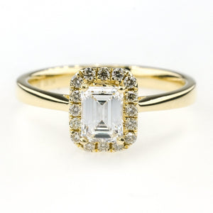 0.50ct VVS2/E GIA Emerald Cut Diamond Halo Engagement Ring in 14K Yellow Gold Engagement Rings Oaks Jewelry