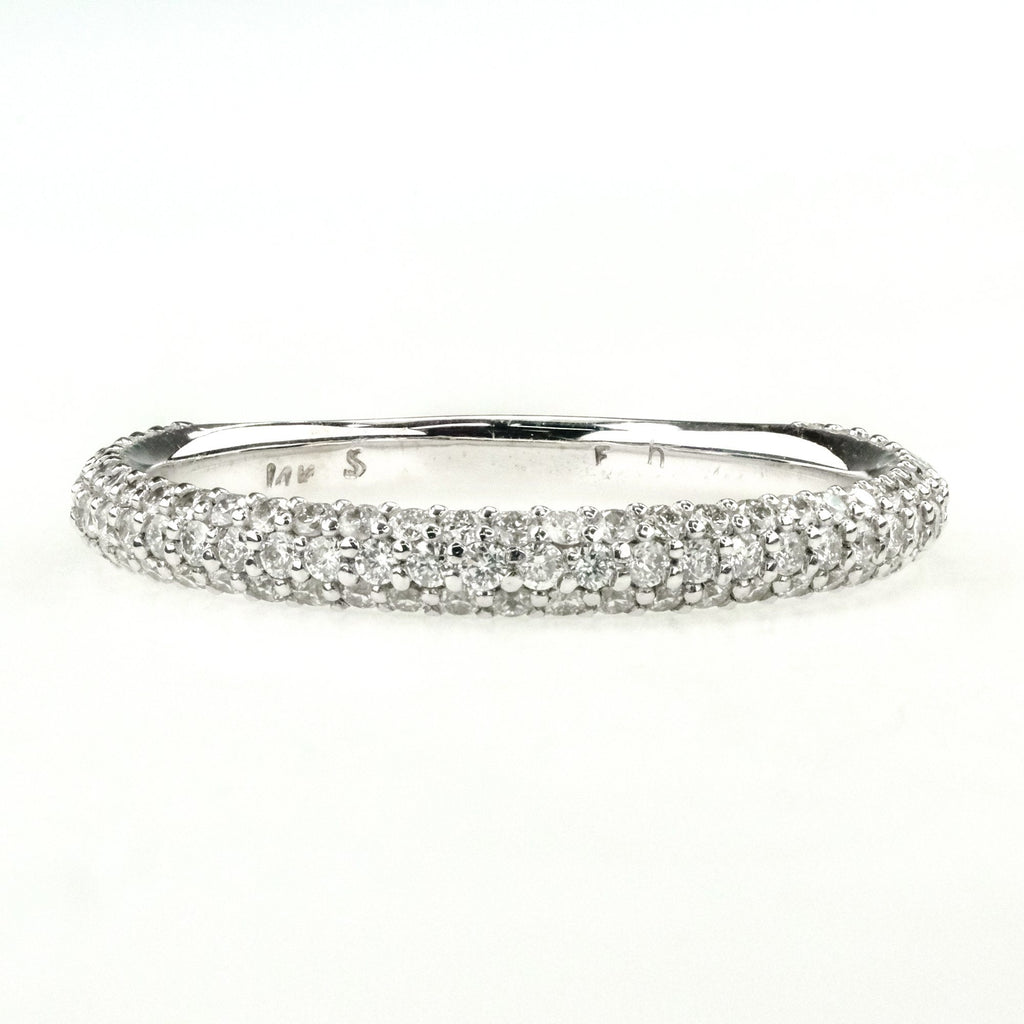 0.50ctw Diamond Accented Pave Set Wedding Band Ring in 14K White Gold Wedding Rings Oaks Jewelry
